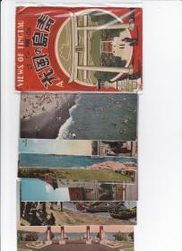 民国 青岛   明信片 7张 带函套  彩色(海滨公园、戎克港、忠魂碑、黄海浴场、加藤岛、青岛太平路等)背面军事邮便