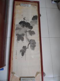 民国【松鹤延年,八十叟东洋绘(绢本)】尺寸:119×38.5厘米