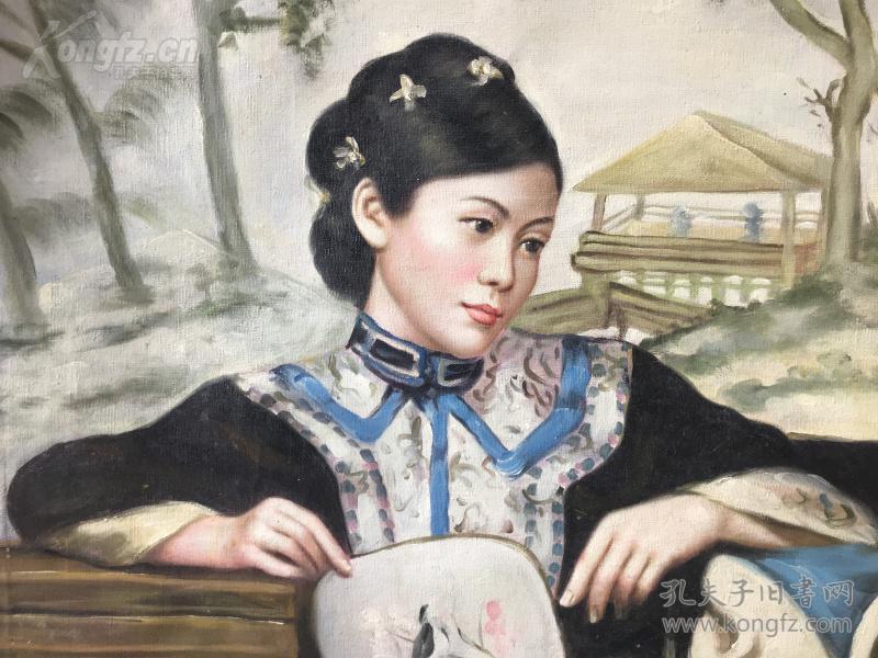 江南美女啊,我爱你,细腻的笔法,生动的面容,精美的手画的栩栩如生,j60*100纯手绘jmei精美的油画,保真