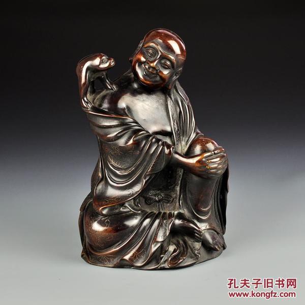 紫铜石叟款刘海戏金蟾摆件