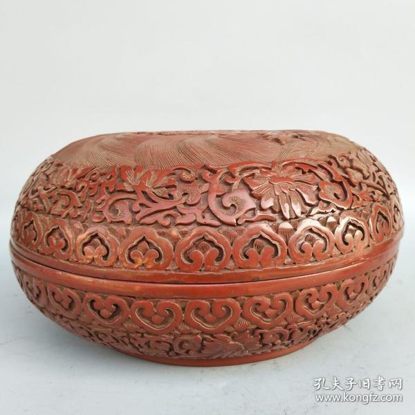 剔红漆器盒《双龙戏珠》尺寸如图,重1260克