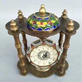 欧美风情  纯铜镶钻十二生肖八卦机械挂表尺寸重量如图