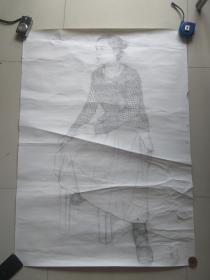 中国艺术研究院中国油画院任副院长石良  素描人物两幅.1995,1996年