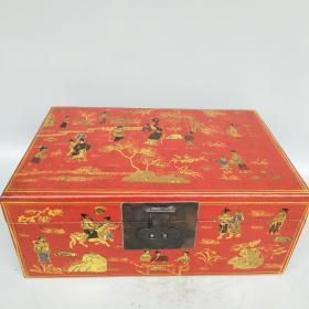 皮包彩绘漆器盒尺寸如图,重约1440克