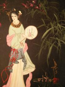 江南美女啊,我爱你细腻的笔法,生动的面容,精美的手画的栩栩如生,48*38纯手绘jmei精美的油画,保真