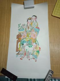 60×34CM 《彩色老年画6张》-----非常漂亮    喜欢的朋友莫要错过