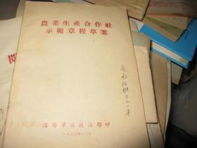 农业生产合作社示范章程草案  1955年沈阳版  少见