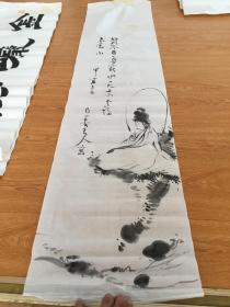 甲寅年(1914年?)日本手绘《观音图》条幅