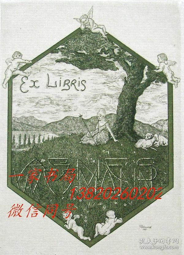 """美国艺术家""""Rabinovitch, Gregor(1884-1958)""""铜版藏书票——《草地上放羊女与天使》1915"""