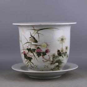 民国粉彩手绘花鸟纹花盆
