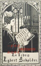 """比利时艺术家""""Meuse Eliane(1899-1993)""""线刻藏书票——《手拿乐谱的女人》"""