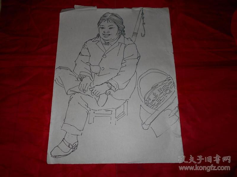 著名画家沈大慈70年代 人物写生 《快乐的女青年》