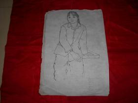 著名画家沈大慈70年代 人物写生 《温芝莲》