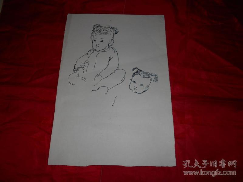 著名画家沈大慈70年代 人物写生 《陕北娃》