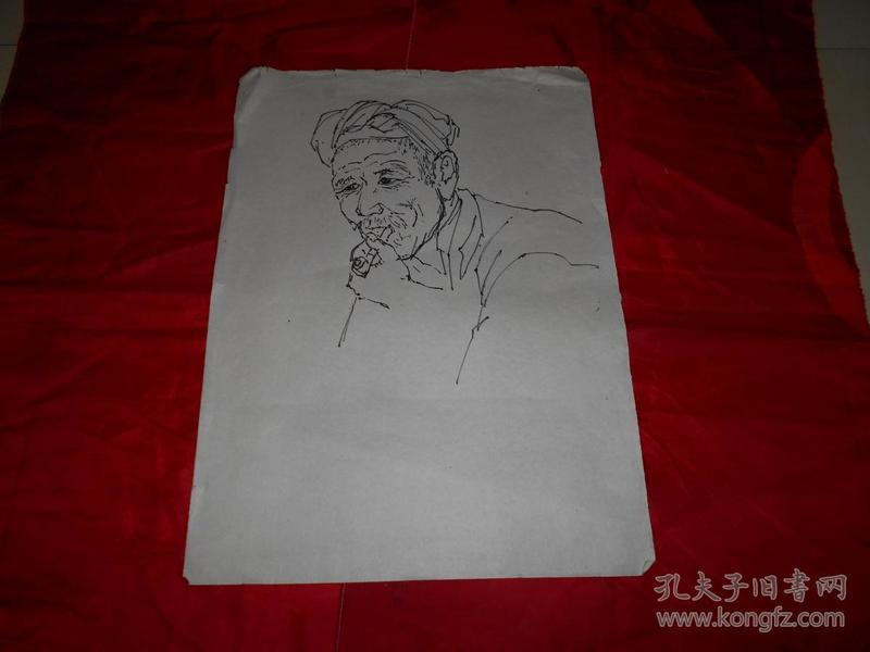 著名画家沈大慈70年代 人物写生 《陕北老汉》三幅