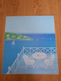 日本印刷色纸油画一幅,【今成敏夫】绘