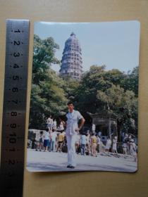 老照片【80年代,搭竹架维修虎丘塔】彩色照片