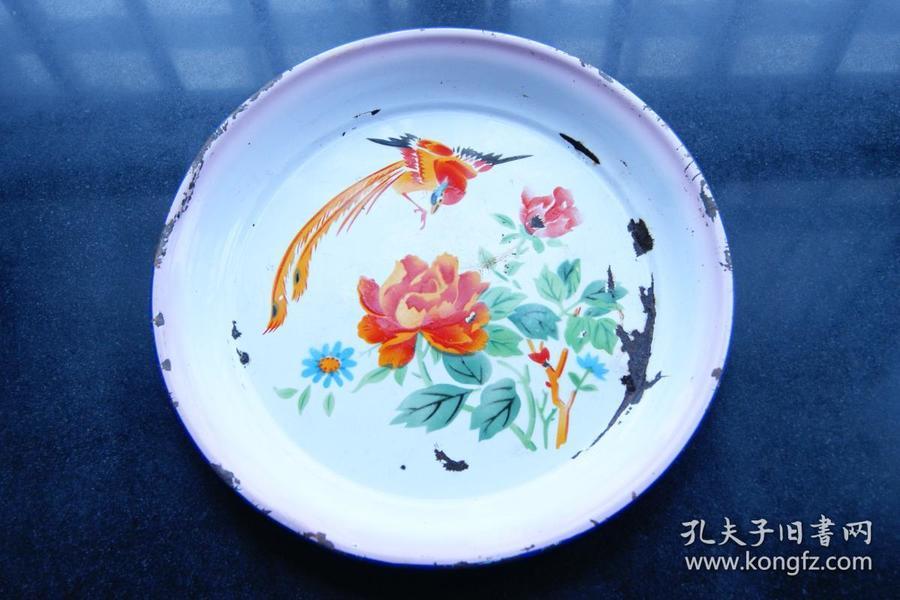 鲜花配凤凰搪瓷盘