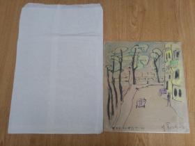 日本绘画色纸一幅,像是手绘,看图自鉴