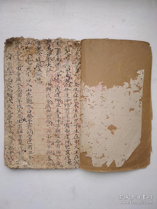 《神算推演》红格手抄本,风水地理内容,画有山形穴位,书法写得好
