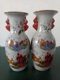 瓷花瓶·粉彩开片十八罗汉双耳瓷花瓶·家居装饰