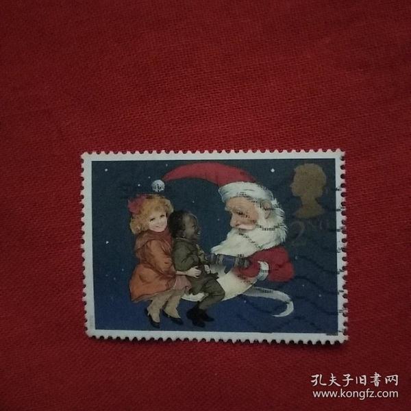 外国邮票圣诞老人与儿童