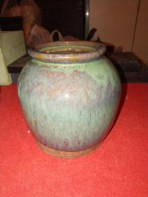 民国宜兴宜钧窑紫砂罐——釉色少见,案头摆件