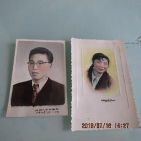 五十年代彩色老照片两张合售如图
