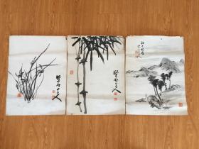 明治前后日本【坚石】手绘《兰》《竹》《山水》三幅
