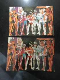 圣斗士星矢 贺年卡 2张合售32开大小