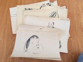 清后期到民国日本手绘《人物、花卉》画稿20幅合售