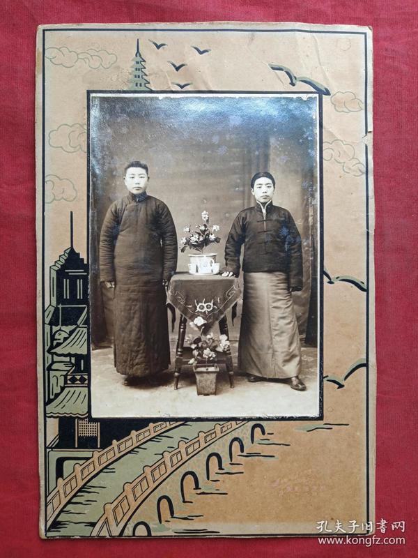 一般合影照109--清晚期至民国早期左右中立二位穿长短袍帅少年男子老照片老相片老像片
