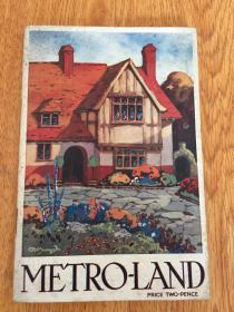 【民国欧美书36】1921年伦敦出版《METRO-LAND(伦敦新城地铁指南)》彩色图片很多,书末有一幅折叠双面彩印地图,维基百科能查到此书