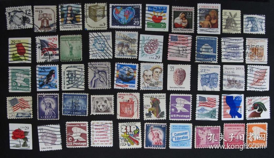 美国邮票----混合小票一组(信销票)