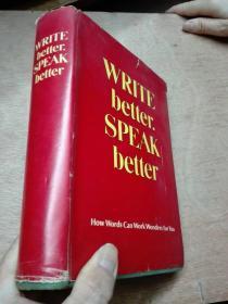 WRITE better SPEAK better 精装正版