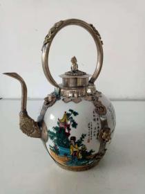 景泰蓝铜胎掐丝珐琅苗银包瓷水壶·四大美女白铜瓷壶·酒壶·瓷壶摆件【大】