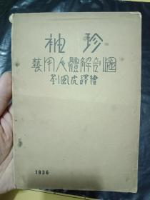 稀缺美术资料《袖珍艺用人体解剖图》 民国二十五年初版,内彩色图例,民国美术家刘风虎绘,连环画家刘继卣曾师从其学习素描)---书品如图