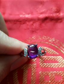 紫色宝石——女式戒指 (内径1.7cm)圆润饱满 水色饱和