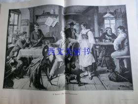 【现货 包邮】1900年巨幅木刻版画《第一次假期旅行》(Die erste Ferienreise)尺寸约56*41厘米 (货号 18022)