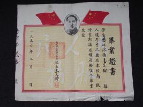 1950年2月【南京市立考棚小学校,毕业证书】早期毛主席像