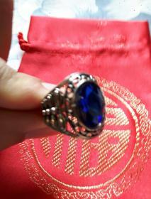 蓝色宝石——男式戒指 镂空 (内径1.9cm)湛蓝大气 精致典雅