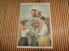 少见---五十年代彩印年画试印样画《亲密的友谊》