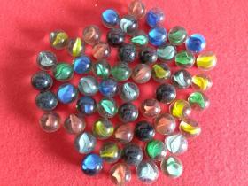 玻璃弹珠(彩色)早期儿童游戏玩具56个合售