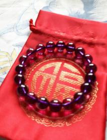 天然紫水晶——手链 (珠粒均匀1cm,重29.9克)品相完美 圆润高贵