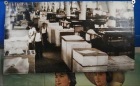 1977年发行毛选五卷印刷车间63厘米超大幅调棕照片。