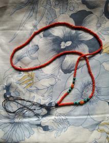 牛血红珊瑚——珠链(280粒左右,每颗2mm大小,总长62cm,总重9.6克)色泽红润 高贵典雅
