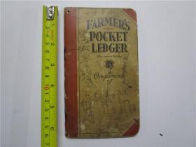 民国50开英文笔记本 FARMERS POCKET LEDGER (农民口袋分类帐) 注:该英文笔记本内页有笔迹,封底有1937及1938年年历