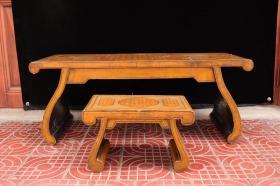 收来完整一套琴桌带凳子 漆器琴桌带凳子一套少见 收藏精品