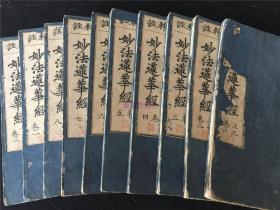 康熙10年和刻佛经《科注妙法莲华经》8卷10册全。书品较佳、较初印。宽文11年刊印。