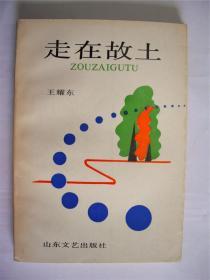 e0598刘文华上款,诗人王耀东签赠本《走在故土》山东文艺出版社初版初印2518册